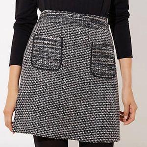 LOFT black tweed pocket skirt NEW